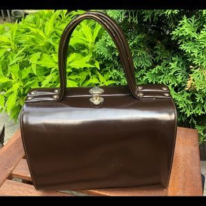 ⭐️ HOST PICK Vintage Brown Leather Hard Case Purse